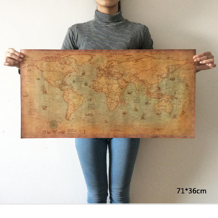 Large retro World Map Kraft Paper Paint vintage Poster Living Room Art Crafts Maps bar cafe Pub wallpaper 36*71cm
