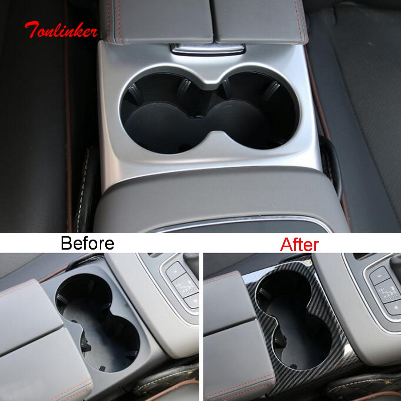 Tonlinker Interior Car Water cup holder Cover Stickers for Citroen C5 Aircorss 2018-19 Styling 1 PCS ABS Matte sticker