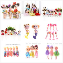 12cm Cartoon Mini Fashion Dolls Toys Sitting Kids Baby Girls Party Dress Decoration Bonecas For Girls Birthday Gifts Random Type(China)