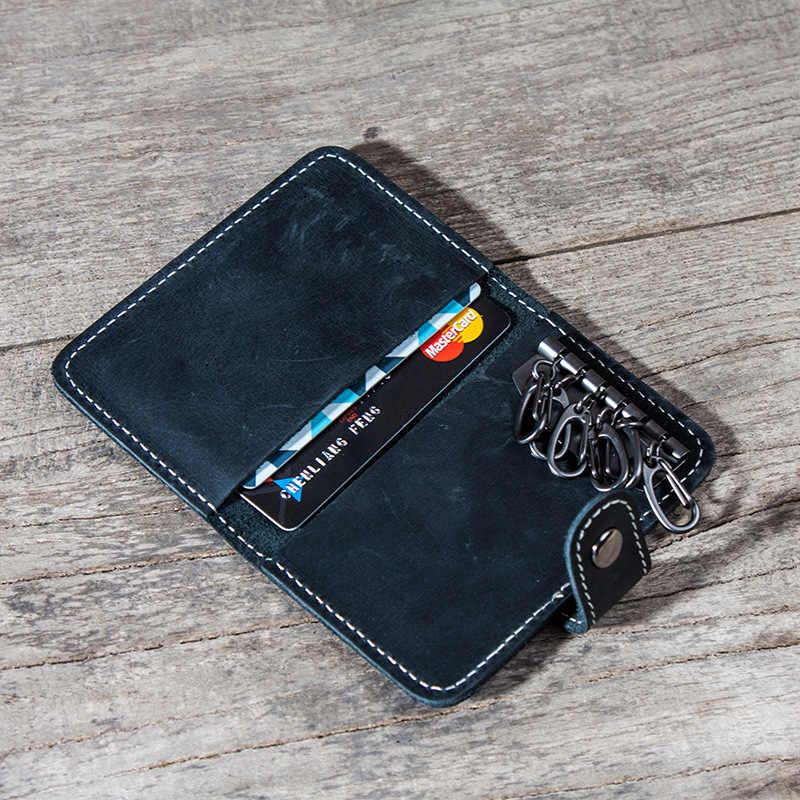 Asli Gantungan Kunci Kulit Kartu Dompet Vintage Crazy Horse Kulit Mobil Gantungan Kunci Dompet Koin Case Dompet Pembantu Rumah Tangga Gantungan Kunci