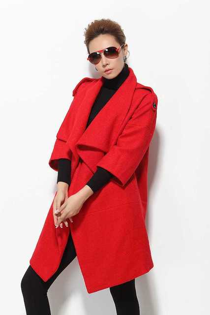 90a8541a6f08 € 56.94 |Abrigos de Mujer 2015 Nuevas mujeres Otoño Invierno Abrigo de Lana  de Moda Elegante Gruesas Mediados de Larga Chaqueta de Lana prendas de ...