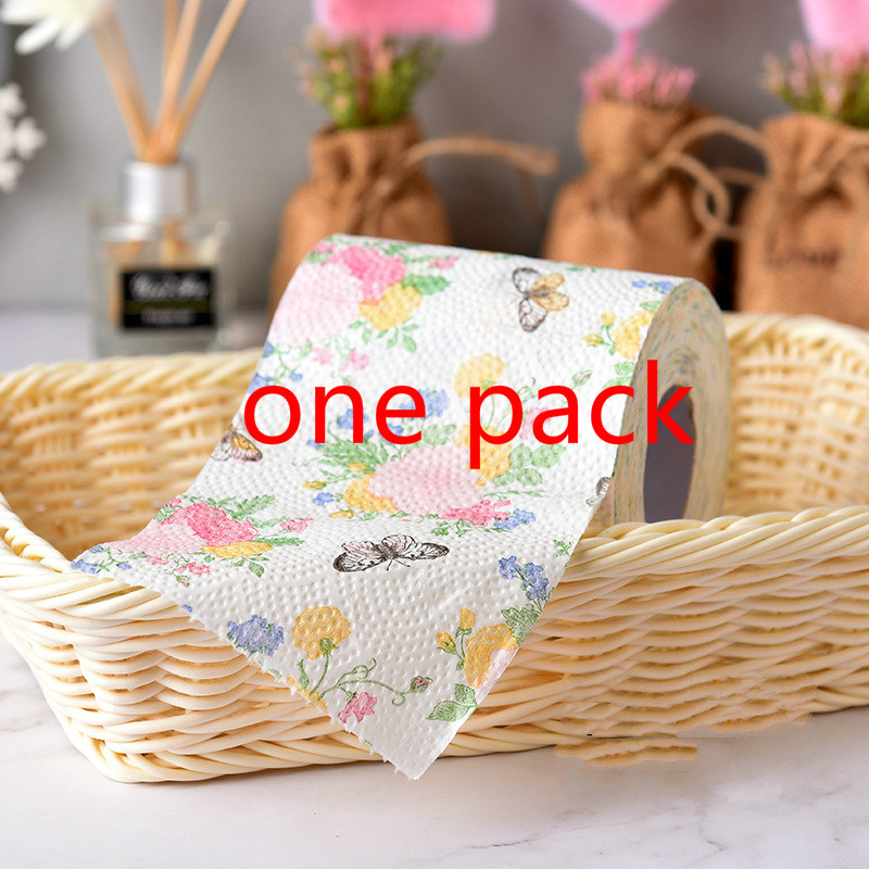 2Packs 13m pack lovely flower butterfly design Paper Toilet Tissues Roll Toilet Paper Novelty Toilet Tissue Wholesale in Disposable Party Tableware from Home Garden