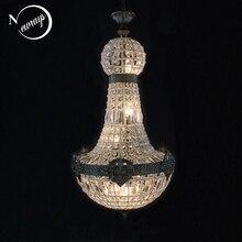 Europa Retro Vintage urocze królewskie imperium styl duży Led kryształowy nowoczesny żyrandol nabłyszczania światła E14 dla hotelu salon