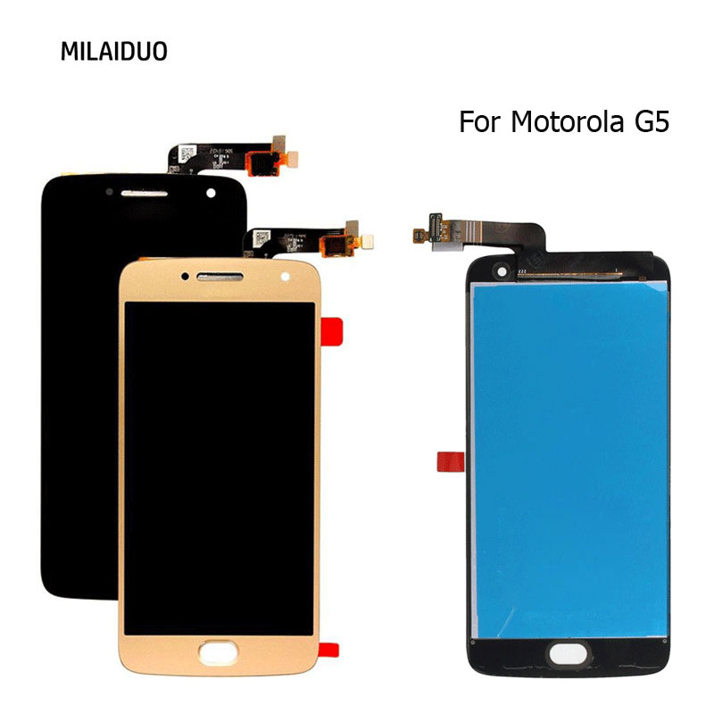 """LCD Display For Motorola Moto G5 Touch Screen Digitizer Assembly Replacement Black White Gold Without Frame Best Quality 5.2"""""""