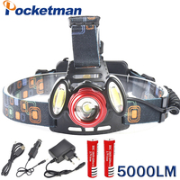 5000 Lumen Headlamp Rechargeable Led Headlamp 18650 T6 Head Flashlight 2 COB Head Lamp Front Torch