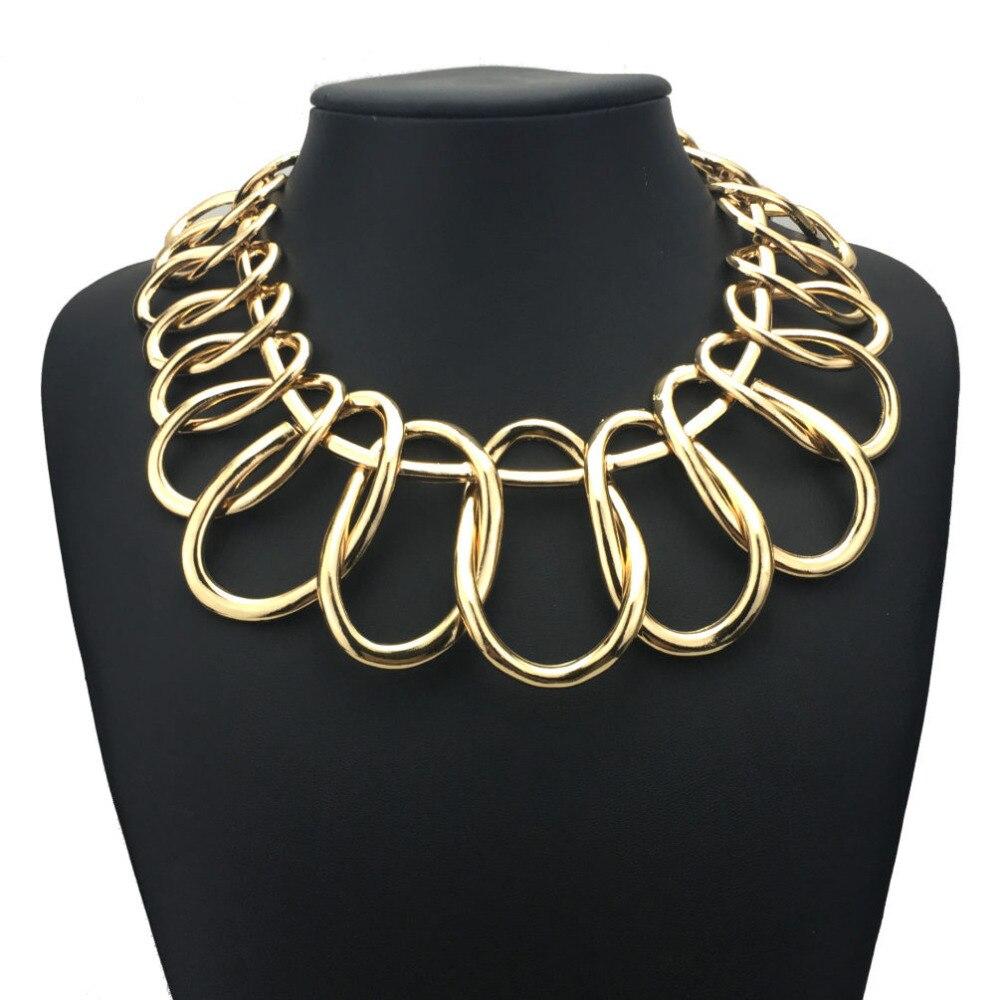 Punk Alloy Big Chokers Necklaces For Women 2018 Fashion Jewelry Exaggerated Circle Metal Bib Statement Chunky Necklace UKMOC stylish circle bead layered chokers necklace