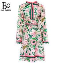 Bao Garret 2019 Spring Fashion Runway Long Sleeve Dress Women's Belted Collar Multicolor Floral Print Vintage Elegant Dress eyes print belted dress