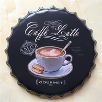 COFFE Large Beer Cover Tin Sign Logo Plaque Vintage Metal Painting Wall Sticker Iron Sign Bar KTV Store Decorative 40X40 CM