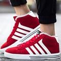 2016 Invierno del Top del Alto de Los Hombres Atan Para Arriba Botas de Gamuza de Cuero Zapatos Deportivos casuales Hombre Entrenadores Deportivos Superstar Basket Zapatillas de Piel rojo