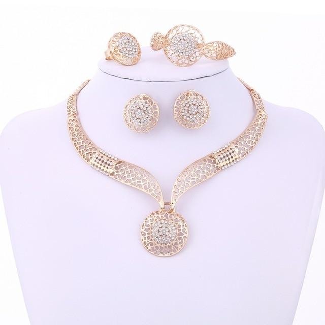 MINHIN Women Delicate Gold Bridal Jewelry Sets Rhinestone Pendant Collar Bracelet Crystal Earrings Rings Wedding Accessories 2
