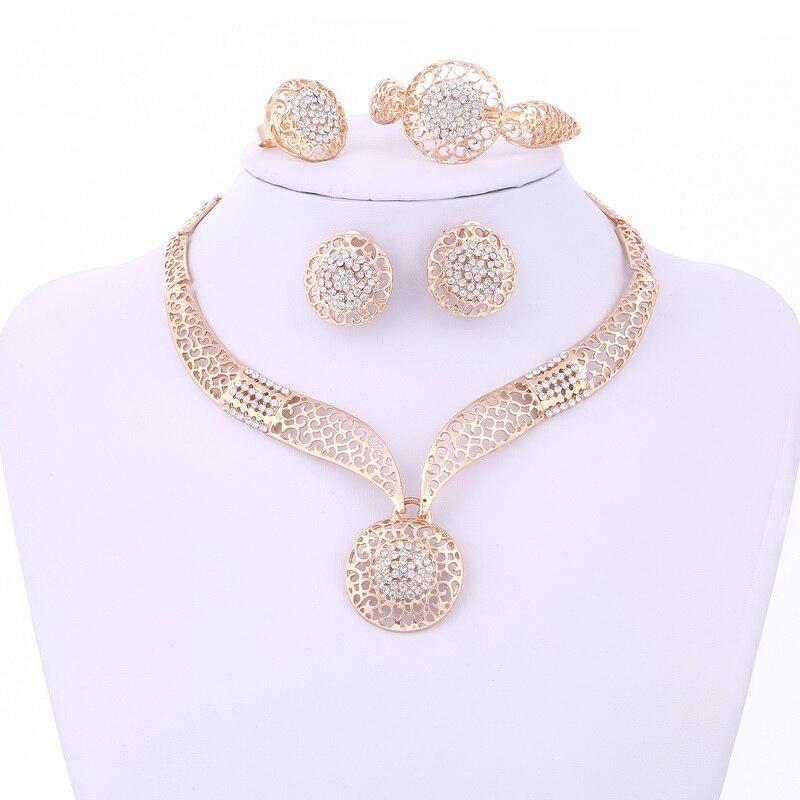 Minhin Women Delicate Gold Bridal Jewelry Sets Rhinestone Pendant Collar Bracelet Crystal Earrings Rings Wedding Accessories #2