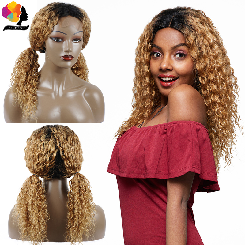 Remyblue Blonde Lace Front Wig 1B 27 Water Wave 180 Density Lace Front Human Hair Wigs