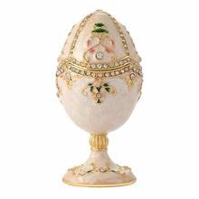 FLETCHER brand metal material White purity enamel faberge egg craft and souvenir for home decor