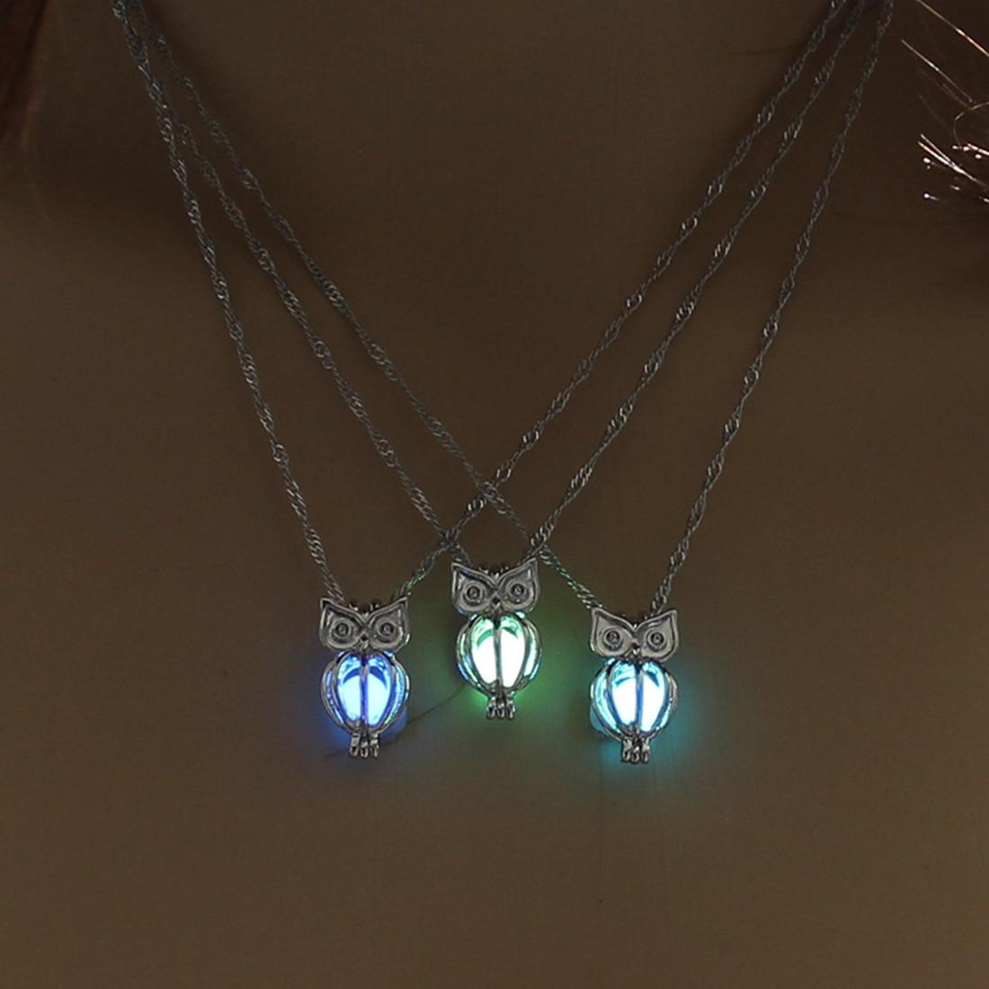 Charm Glowing Owl Pendant Necklace Cute Luminous Jes