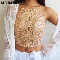 Elegant Embroidery Lace Crop Top 2018 Women Summer Backless Cross Back Halter Mesh Bralet Sexy Party