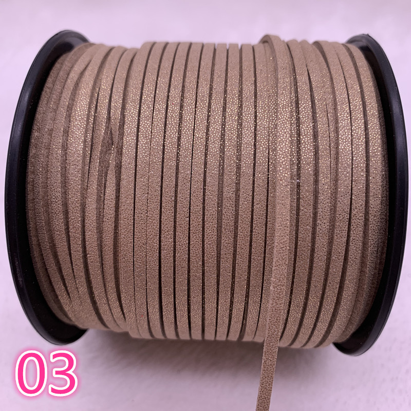 NEW 5yards/lot 3mm Flat Faux Suede Braided Cord Korean Velvet Leather Handmade Beading Bracelet Jewelry String #03