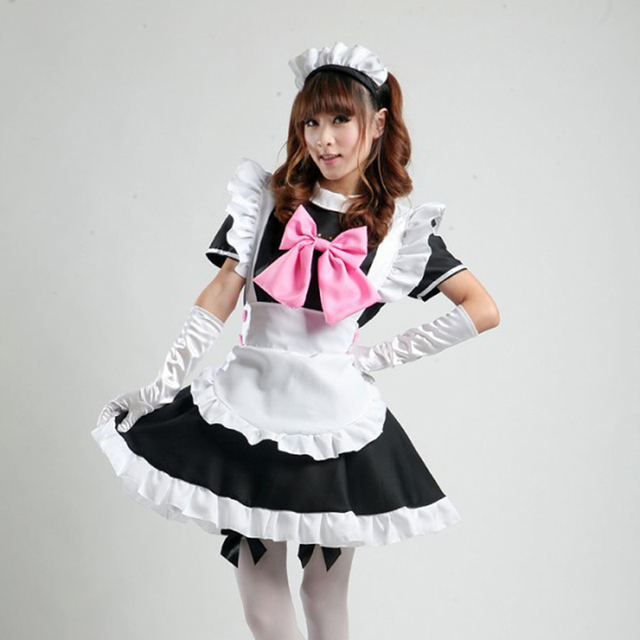 4e2e06c02ee high quality Nite French Maid Costume Plus Size restaurant Waiter Sweet  Gothic Lolita Dress Halloween Sexy Maid Cosplay Costume