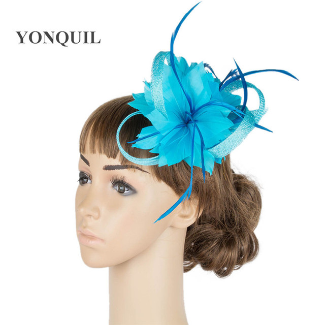 e6b50109f4925 Nice feather flower fascinators sinamay trims adnorned bridal wedding  headpiece party occasion hair accessories event headpieces