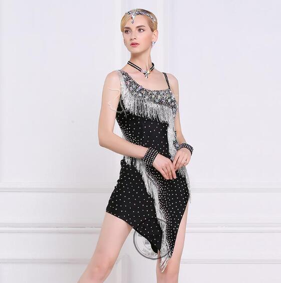 customize handmade beading rhinestone black latin Rumba cha cha salsa tango Latin dance competition dress