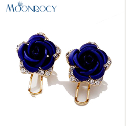 MOONROCY Rose Gold Color Crystal Earring For Women Cute Girls Flowers Red Purple Blue Earrings Drop Shipping Wholesale
