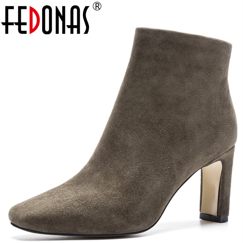 FEDONAS 1Fashion Women Ankle Boots Autumn Winter Warm Suede Leather High Heels Shoes Woman Square Toe Elegant Office Lady ShoesFEDONAS 1Fashion Women Ankle Boots Autumn Winter Warm Suede Leather High Heels Shoes Woman Square Toe Elegant Office Lady Shoes