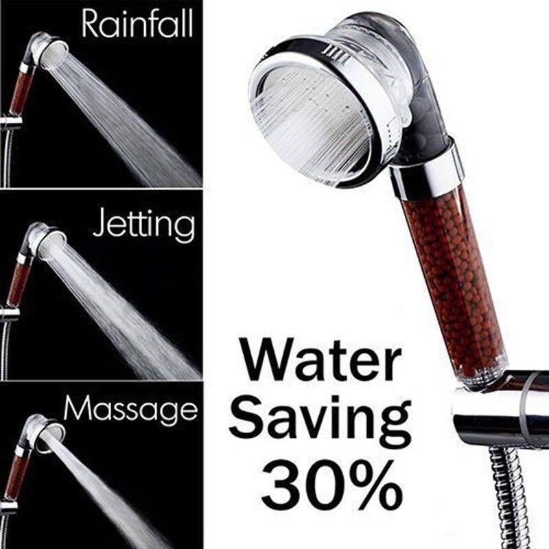 Negative Ion SPA Filtered Shower Multifunction Adjustable Shower Head With Shower Hose Three Shower Mode Head Bathroom