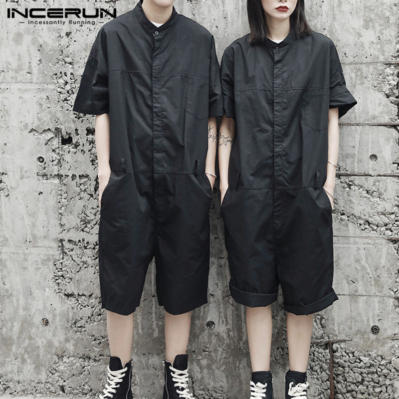 INCERUN Rompers Mens Cargo Overalls Loose Solid Color 2020 Streetwear Punk Style Shortsleeve Playsuit Men Jumpsuit Pants S-5XL