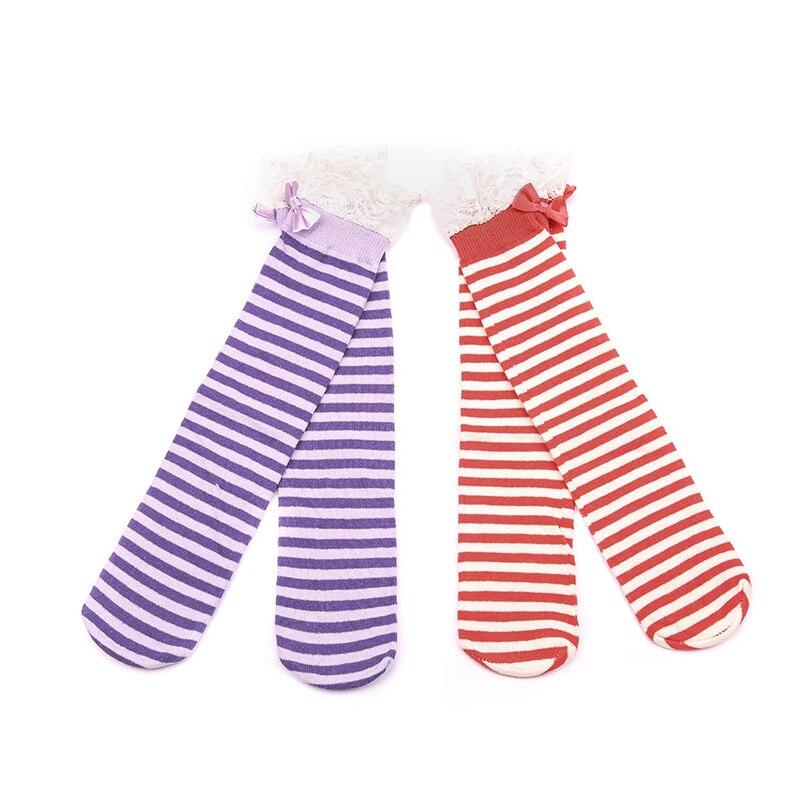 fc9cfa4ed W119 Frete grátis 1-8 anos de idade meias tubo de meias de algodão listrado  meias doce princesa das crianças
