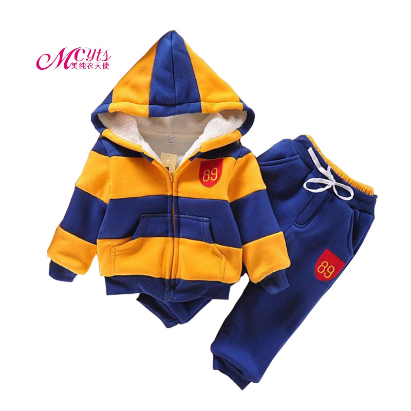 2018 Winter Girls Boys Clothing Sets Baby Sports Suit Long Sleeve Wool Hoodie+Pants 2 Pcs Suits 2 3 4 5 6 Years Kids Clothes Set цена