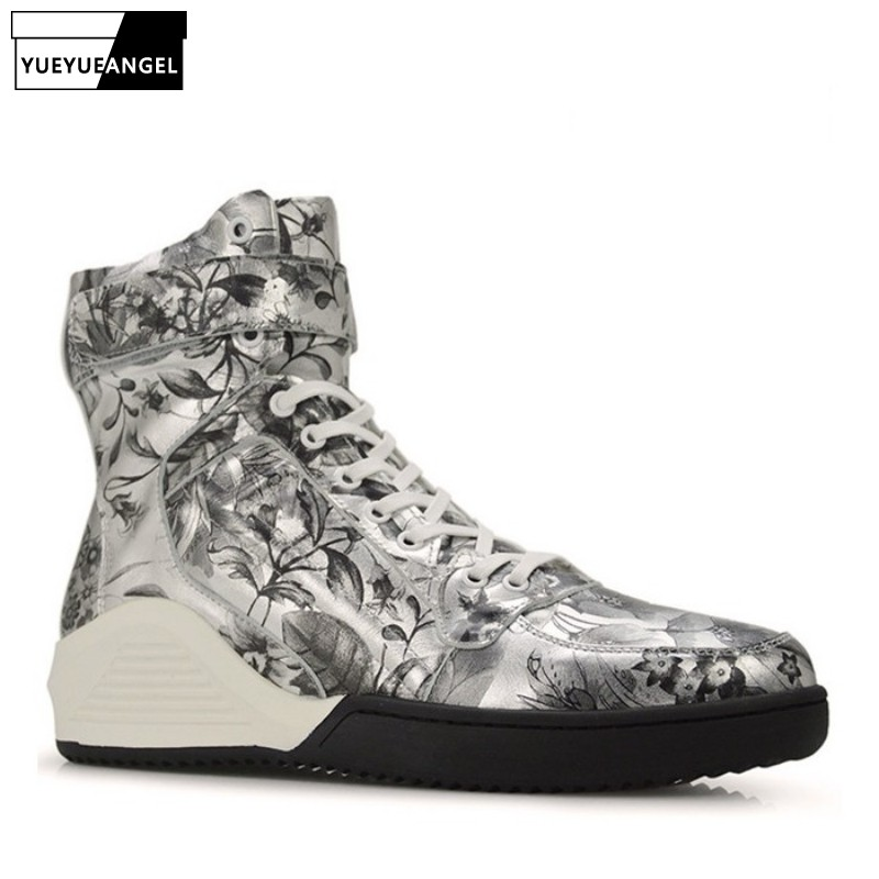 Men Silver Printing Genuine Leather Boots Korean Casual Brand Luxury Fashion Round Toe Boots Footwear High Quality ComfortableMen Silver Printing Genuine Leather Boots Korean Casual Brand Luxury Fashion Round Toe Boots Footwear High Quality Comfortable