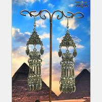 India South Asian Female Birdcage Earrings Retro Tribal DIY Ancient Silver Jewelry Thailand, Nepal, Middle East Jewelry