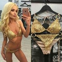 Newest Design Gold Sequins Women Push Up Padded Bra Bandage Bikini Set Swimsuit Swimwear Bathing Wholesale