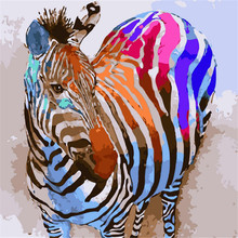 Colorful Zebra Oil Painting By Numbers DIY Abstract Animal Digital Picture Coloring On Canvas Unique Gift Home Decor