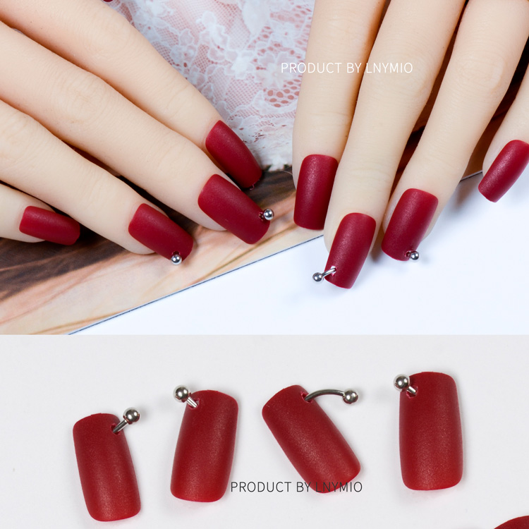 Long fake nails red matte artificial nail art with cool metal ...
