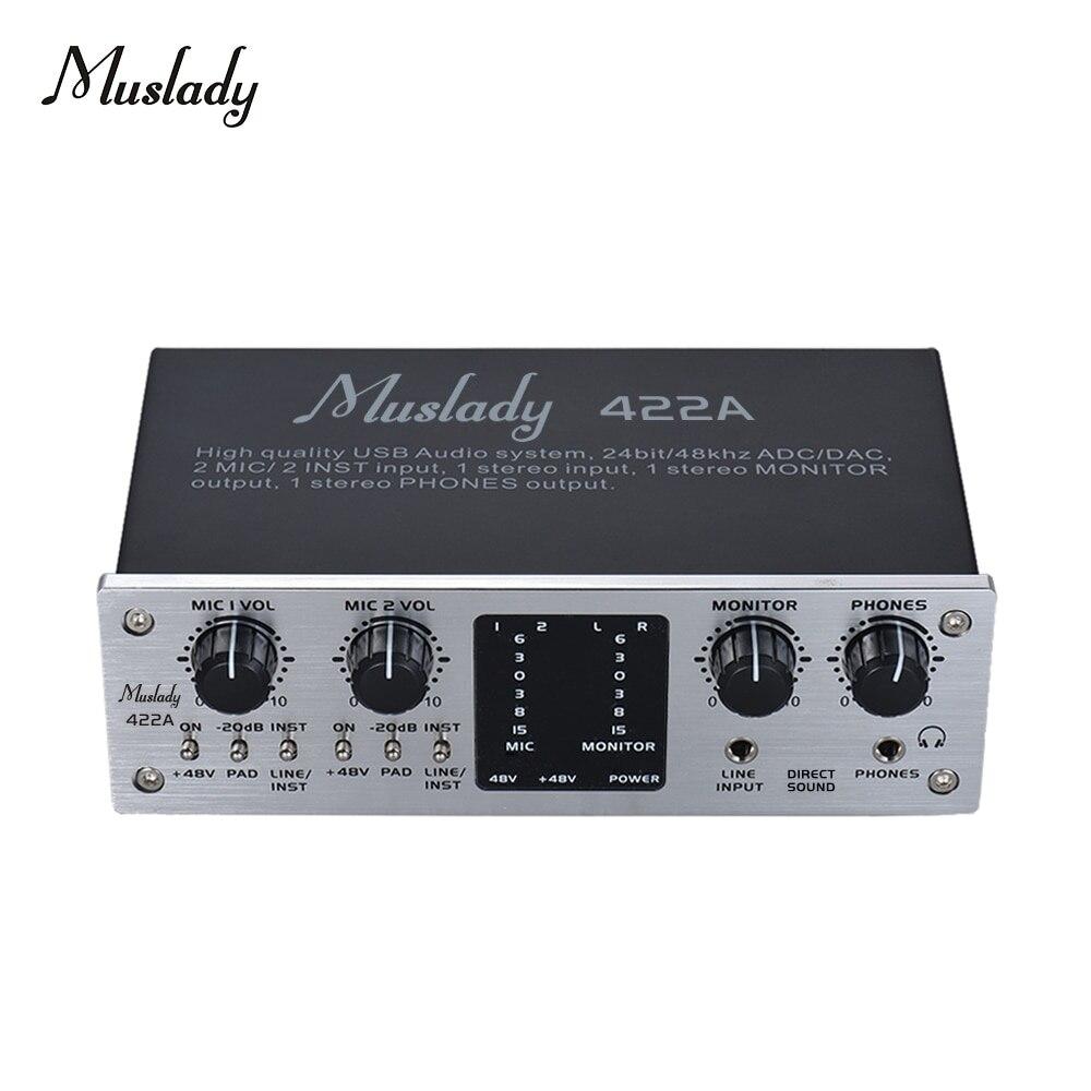 Muslady 422A 4 Channel USB Audio System Interface External Sound Card +48V phantom power DC 5V Power Supply
