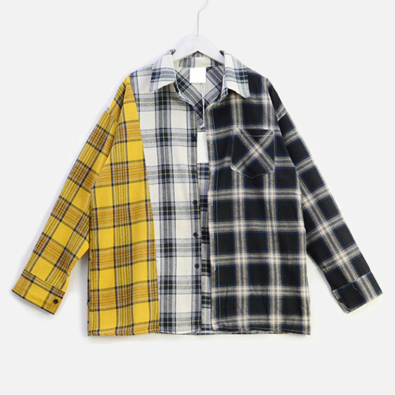 Hip Hop Plaid Color Contrast Women's Shirts Tops Long Sleeve Patchwork Splice Shirt Streetwear Female 2020 Spring Summer Top