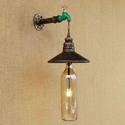 Przemysłowe kinkiet szklany klosz żelaza rdzy restauracja ściana światło z G4 światła do salonu sypialni restauracja 220V