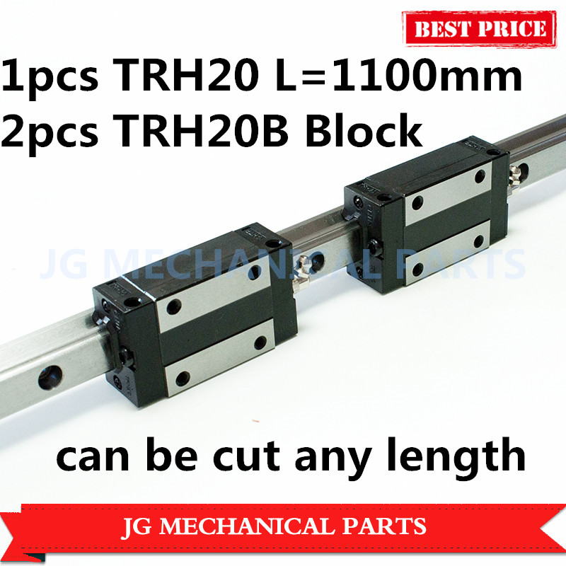 High Precision 20mm linear guide rail 1pcs TRH20 L=1100mm with 2pcs TRH20B Square block carriage for CNC Router Milling MachineHigh Precision 20mm linear guide rail 1pcs TRH20 L=1100mm with 2pcs TRH20B Square block carriage for CNC Router Milling Machine
