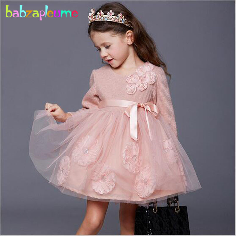 3-7Years/Autumn Winter Baby Girls Clothes Long Sleeve Tutu Dress Lace Princess Costume For Kids Dresses Children Clothing BC1307