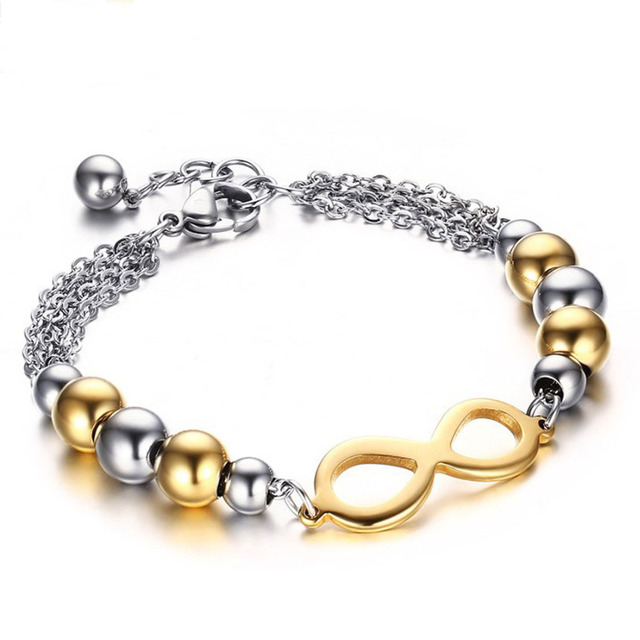Fashion Silver Gold Ball Bracelet For Women 17 7cm Stainless Steel With Extended Buckle Bracelets Free