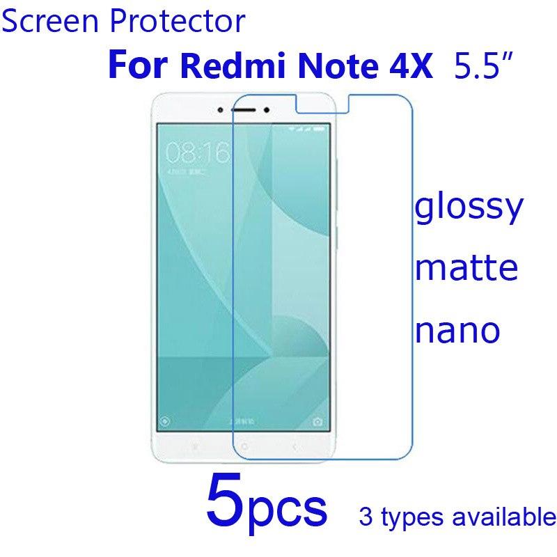 Xiomi Redmi 4X Screen Protectors,5pcs Anti Scratch HD Clear Matte Nano Explosion-Proof Protective Films for Xiaomi Redmi Note 4X