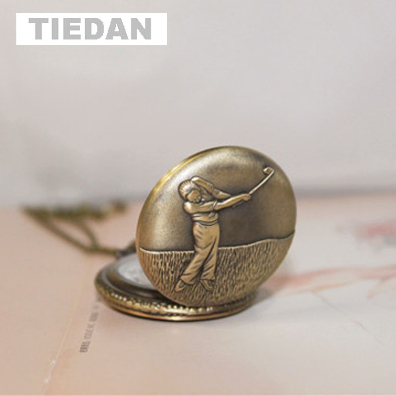 TIEDAN BRAND Antique Retro Bronze Quartz Pocket Watches Woman Play Golf Design Vintage Fob Watch with Necklace for Unisex Gifts