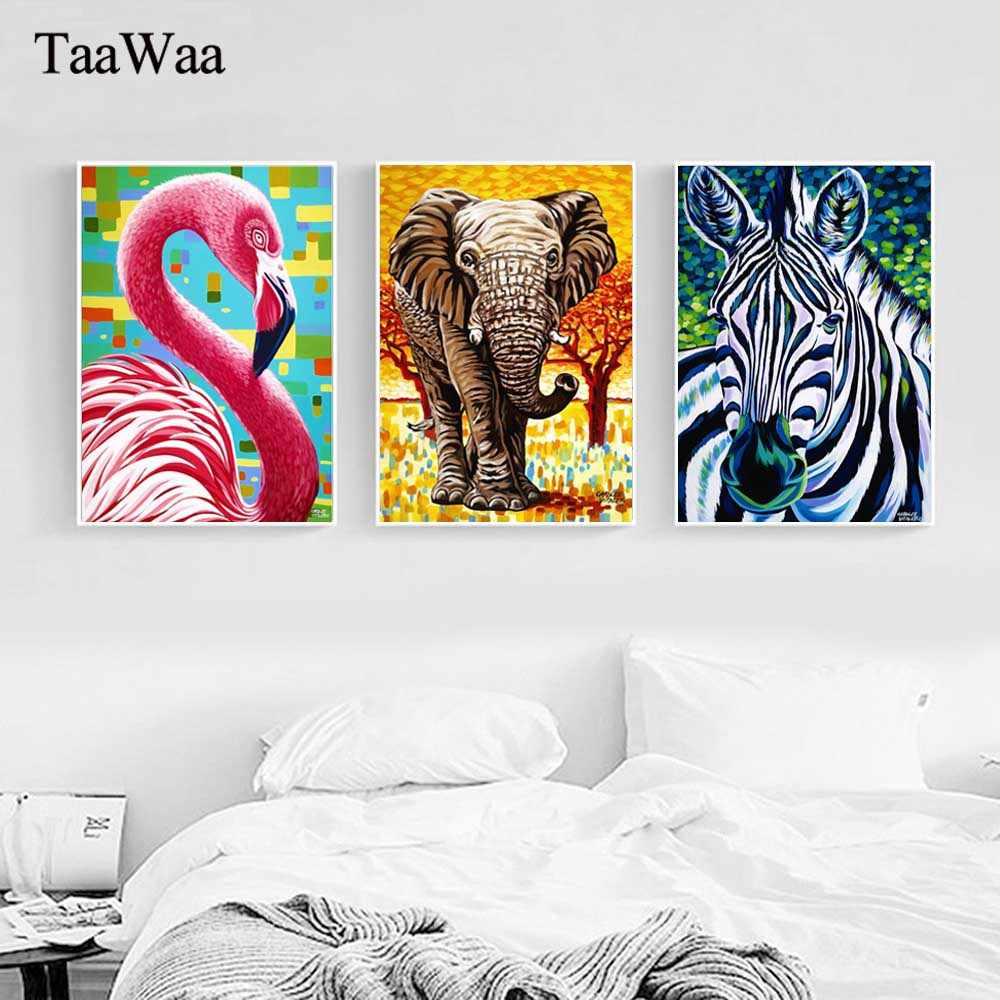 تاواوا الشمال أوراق النبات الفيل زيبرا فلامنغو قماش اللوحة الفن ملصق جدار ديكور صور لغرفة المعيشة الديكور
