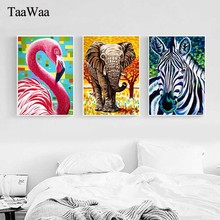 TaaWaa Nordic Leaf Plant Elephant Zebra Flamingo Canvas Painting Art Decorative Poster Wall Pictures For Living Room Decoration