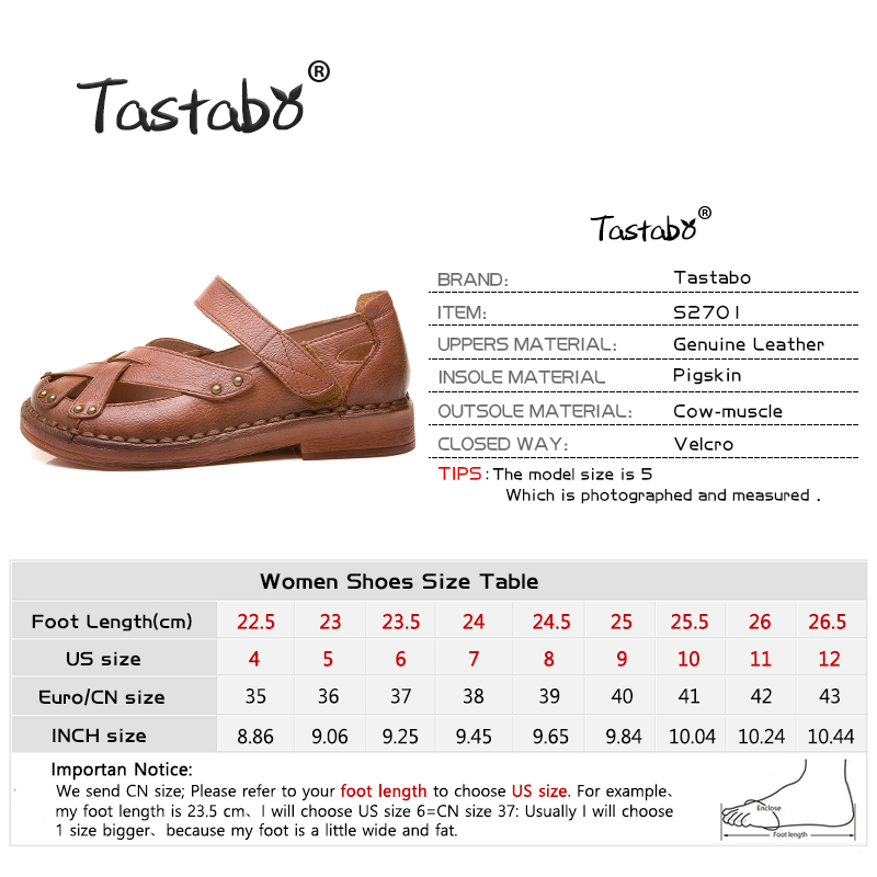 Tastabo Genuine Leather Woman shoes Comfortable Casual Shoes Wear resistant soft bottom Handmade shoes Breathable minimalist-in Women's Flats from Shoes    3
