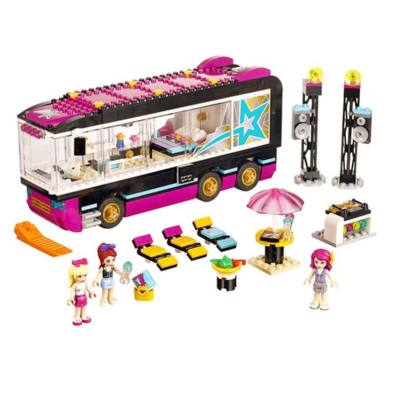 684pcs DIY Compatible with playmobil Friends Pop Star Tour Bus Figures building Blocks Bricks toys for children birthday gifts gonlei 10407 friends pop star tour bus building blocks sets bricks toys girl game house gift compatible with