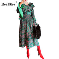 RealShe Women Long Dress Hot 2018 Spring Vintage Print Dresses High Waist Bodycon Dress Womans Sexy