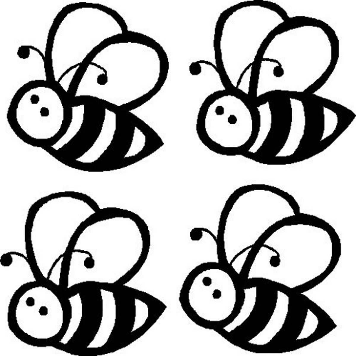 Four Buzzy Bee Vinyl Sticker Decal Car Window Wall Home Glass Door Auto Truck Laptop Bumper Decor Christmas Black 12.0cmX12.0cm ...