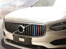 Lapetus Car Styling Front Grille Grill Inserts Racing Frame Cover Trim Colorful Fit For VOLVO S90 2017 2018 2019 Plastic