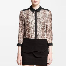 Nice Fashion Women Chiffon Blouse Nice Spring Office OL Shirt Leopard Printed Stitching Blouse Casual Slim Shirt Style Tops EG84